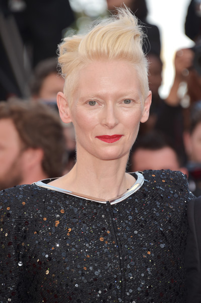 Tilda Swinton Fauxhawk [hair,hairstyle,blond,fashion,lip,eyebrow,beauty,haute couture,croydon facelift,long hair,red carpet arrivals,tilda swinton,cannes,france,cannes film festival,screening,palais des festivals]