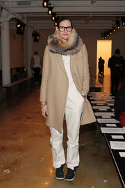 Jenna Lyons added more warmth with a luxurious fur scarf.