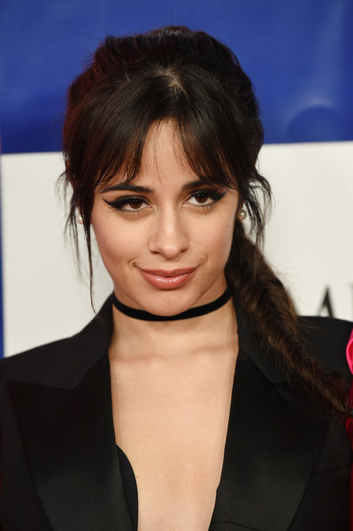 More Pics of Camila Cabello Pearl Studs (1 of 8) - Pearl Studs Lookbook - StyleBistro [hair,face,hairstyle,eyebrow,lip,chin,beauty,forehead,cheek,bangs,time 100,pier 17,new york city,camila cabello]