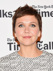 Maggie Gyllenhaal attended TimesTalks wearing her hair in a mussed-up pixie.