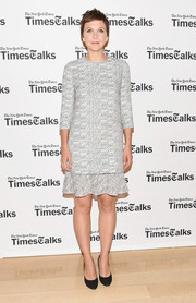 Maggie Gyllenhaal was conservative and classy in a ruffle-hem tweed dress by Chloe during TimesTalks.