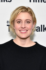 Greta Gerwig opted for a casual, slightly messy 'do when she attended TimesTalks.