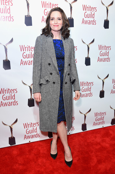 Tina Fey Tweed Coat [red carpet,carpet,clothing,dress,flooring,fashion,premiere,outerwear,suit,fashion design,arrivals,tina fey,writers guild awards,new york,edison ballroom]