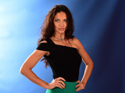 Adriana Lima posed for the 'Today' show Gallery of Olympians wearing a fitted black one-shoulder top by RVN.