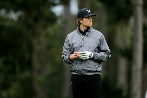 Tom Brady Cropped Jacket [recreation,sports training,golf,fourball,sports,competition event,player,cap,tom brady,two,green,spyglass hill golf course,pebble beach,california,new england patriots,at t pebble beach national pro-am,round]