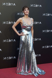 Sofia Boutella was a style standout in a liquid silver sequin gown by Miu Miu at the Madrid premiere of 'The Mummy.'