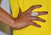A sparkly oval cocktail ring added some shine and glamour to Garcelle Beauvais' look.