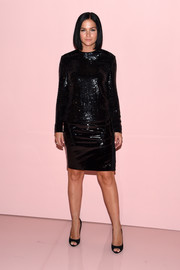 Leigh Lezark donned a long-sleeve black sequin top for the Tom Ford Spring 2018 show.