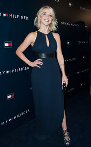Julianne Hough looked both sexy and classic in this navy gown with a keyhole neckline and leather empire waist.