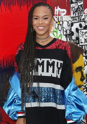 Serayah McNeill rocked super-long cornrows at the Tommy Hilfiger fashion show.