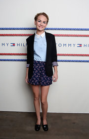Britt Robertson looked cute in her paisley-print shorts at the Tommy Hilfiger fashion show.