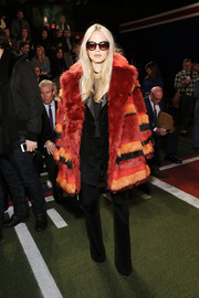 Rachel Zoe chose a Tommy Hilfiger fur coat in a mix of fiery hues for the label's fashion show.