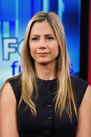 Mira Sorvino sported a sleek straight hairstyle while visiting 'FOX & Friends.'