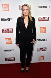 Elisabeth Moss kept it simple yet sophisticated in a black tuxedo jumpsuit by A.L.C. at the premiere of 'Top of the Lake: China Girl.'