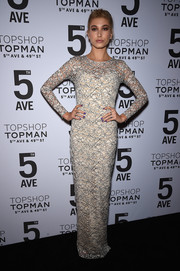 Hailey Baldwin opted for a long-sleeve lace gown in cream with streaks of black when she attended the Topman New York City flagship opening dinner.