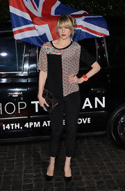 A mix and match loose blouse gave Lucy Punch's look some spunk and flavor at the Topshop Topman LA party.