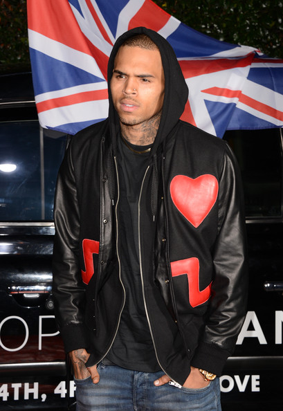 Chris Brown wore his heart almost on his sleeve with this leather jacket with heart patchwork at the Topshop Topman LA opening.