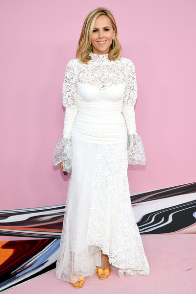 Tory Burch Lace Dress [dress,clothing,white,fashion model,gown,fashion,lady,pink,shoulder,hairstyle,arrivals,tory burch,cfda fashion awards,brooklyn museum of art,new york city]