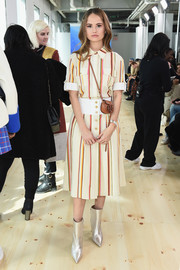 Debby Ryan was casual-chic in a short-sleeve striped blouse by Tory Burch during the brand's Fall 2019 show.