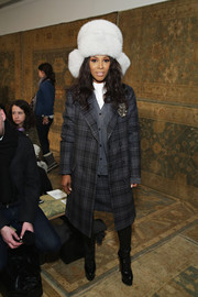 June Ambrose was menswear-chic in a gray plaid coat at the Tory Burch fashion show.