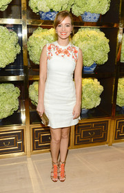 Ahna O'Reilly continued the floral theme with a lovely pair of orange and bronze Tory Burch strappy sandals.