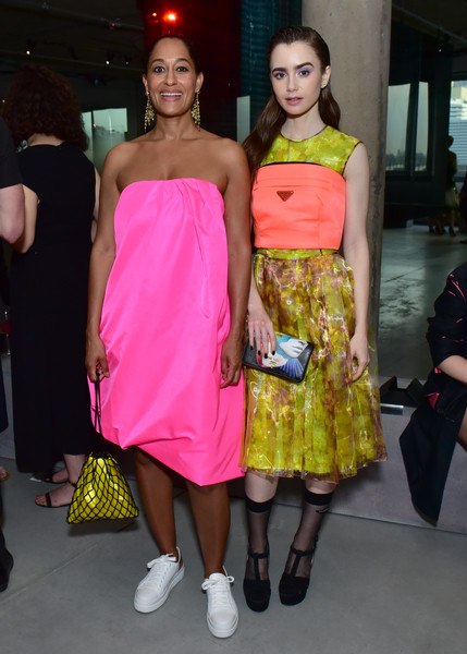 Tracee Ellis Ross Leather Sneakers [fashion model,fashion,clothing,shoulder,fashion show,fashion design,dress,yellow,pink,event,arrivals,lily collins,tracee ellis ross,front row,new york city,prada resort 2019 fashion show,fashion show]