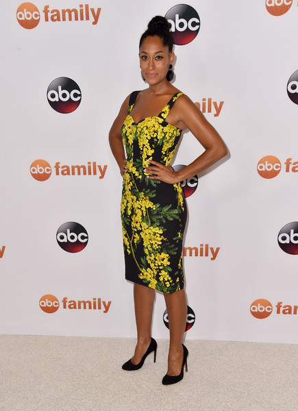 Tracee Ellis Ross Print Dress [tour photo,clothing,dress,shoulder,red carpet,carpet,yellow,fashion,cocktail dress,fashion model,joint,tracee ellis ross,call,beverly hills,california,beverly hilton hotel,abc television group,disney,summer tca press,tca summer press tour]