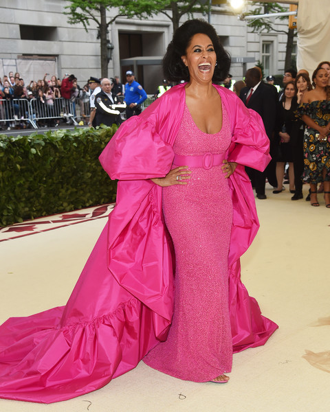 Tracee Ellis Ross Evening Coat [clothing,pink,fashion,fashion model,dress,red carpet,carpet,magenta,gown,flooring,heavenly bodies: fashion the catholic imagination costume institute gala - arrivals,new york city,metropolitan museum of art,tracee ellis ross]