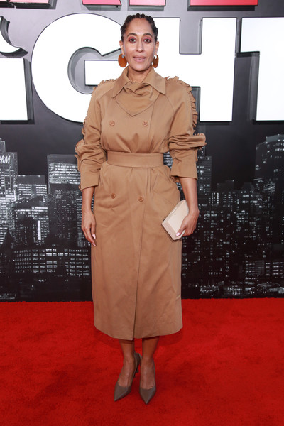 Tracee Ellis Ross Trenchcoat [late night,la premiere,clothing,red carpet,carpet,trench coat,fashion,flooring,premiere,dress,shoulder,joint,arrivals,tracee ellis ross,california,los angeles,the orpheum theatre,amazon studio,premiere]