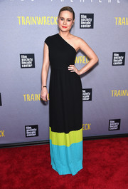 Brie Larson looked effortlessly stylish in a color-block one-shoulder gown by Michael Kors during the New York premiere of 'Trainwreck.'