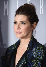 Marisa Tomei brushed her hair back into a loose bun for the New York premiere of 'Trainwreck.'