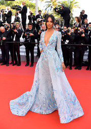 Jasmine Tookes was a vision in a beaded baby-blue gown by Zuhair Murad at the 2019 Cannes Film Festival screening of 'The Traitor.'