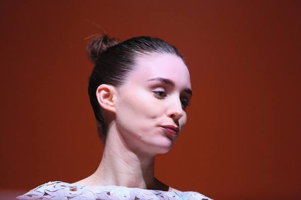 Rooney Mara wore her hair in a tight bun at the Rome Film Festival press conference for 'Trash.'