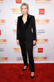 Jane Lynch wore a classic menswear-inspired tuxedo suit at the TrevorLIVE NYC event.