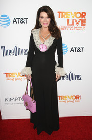 Lisa Vanderpump looked like a tone-down Scarlett O'Hara in a black Gucci gown with a white ruffle neckline and cuffs at the 2016 TrevorLIVE LA.