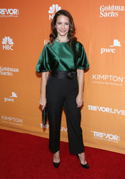 Kristin Davis donned an elegant emerald satin blouse with puffed sleeves for the 2017 TrevorLIVE LA Gala.