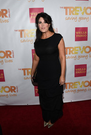 Monica Lewinsky made a rare red carpet appearance at the TrevorLIVE LA event wearing a black evening dress with a tiered skirt.