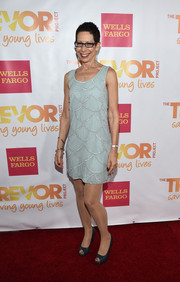 Abbe Land was '20s-chic at the TrevorLIVE LA event in a pale-blue mini dress with scalloped detailing.