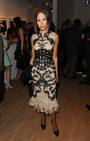 Allison Sarofim was an artistic vision in tis lay cocktail dress at the Tribeca Ball.