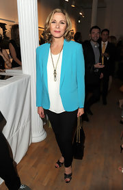 Kim Cattrall brightened up the Tribeca Ball in this aqua blazer.