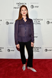 Bonnie Wright added a hint of edge with a pair of frayed trousers.