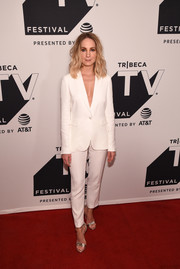 Joanne Froggatt went minimalist in a white Massimo Dutti pantsuit at the Tribeca TV Festival premiere of 'Liar.'