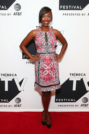 Samira Wiley slipped into a paisley-print dress with lace-up detailing for the Tribeca TV Festival premiere of 'Ryan Hansen Solves Crimes on Television.'