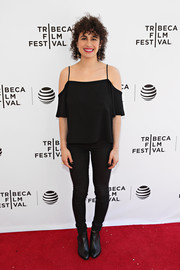 Ilana Glazer donned a trendy black cold-shoulder top for the Tribeca Film Fest screening of 'Time Traveling Bong.'