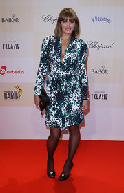 The conservative cut of Franziska's frock was jazzed up by its striking abstract print at the 'Tribute To Bambi 2009' in Berlin.