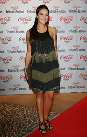 Margherita Missoni paired black strappy sandals with her cocktail dress for a sexy finish.