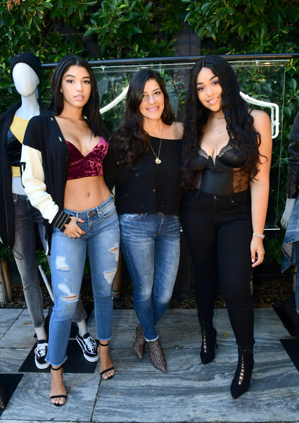 More Pics of Jordyn Woods Corset Top (1 of 22) - Tops Lookbook - StyleBistro [jeans,clothing,denim,lady,fashion,leg,long hair,black hair,footwear,thigh,tara peyrache,yovanna ventura,jordyn woods,nylon,cmo,california,west hollywood,true religion,fit event,fit event]