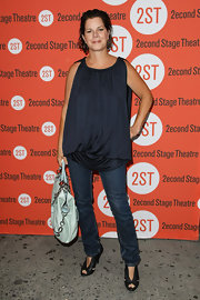 Marcia Gay Harden carried a roomy tote to the 'Trust Off' Broadway opening.