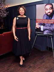 Cheryl C. Joyner chose a retro-style LBD with a full skirt for her evening look.