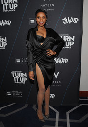 Jennifer Hudson chose lacy Christian Louboutin pumps to complement her all-black look at the 'Turn It Up for Change' Ball.